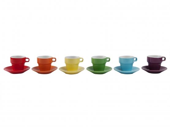 espressotassen set in regenbogenfarben. Black Bedroom Furniture Sets. Home Design Ideas
