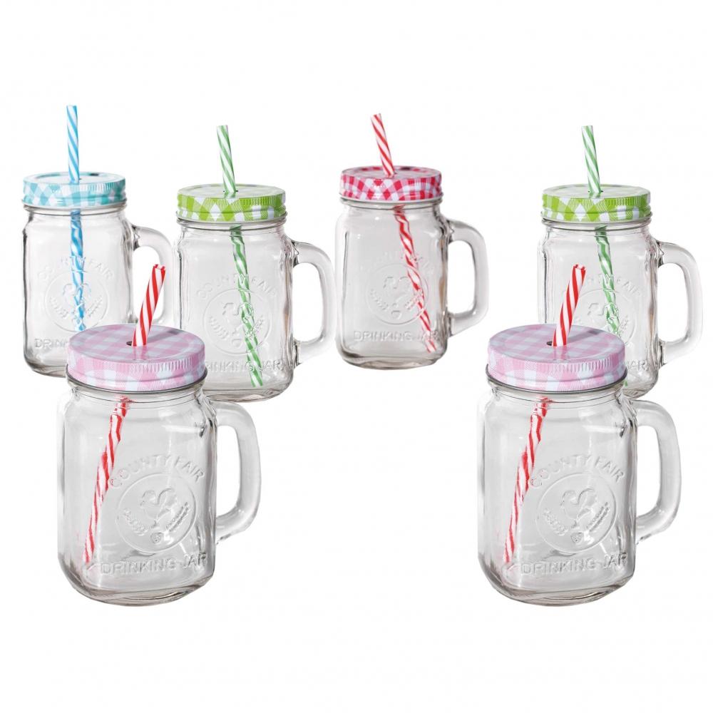 Einmachglas mit Henkel als Trinkglas 6er Set