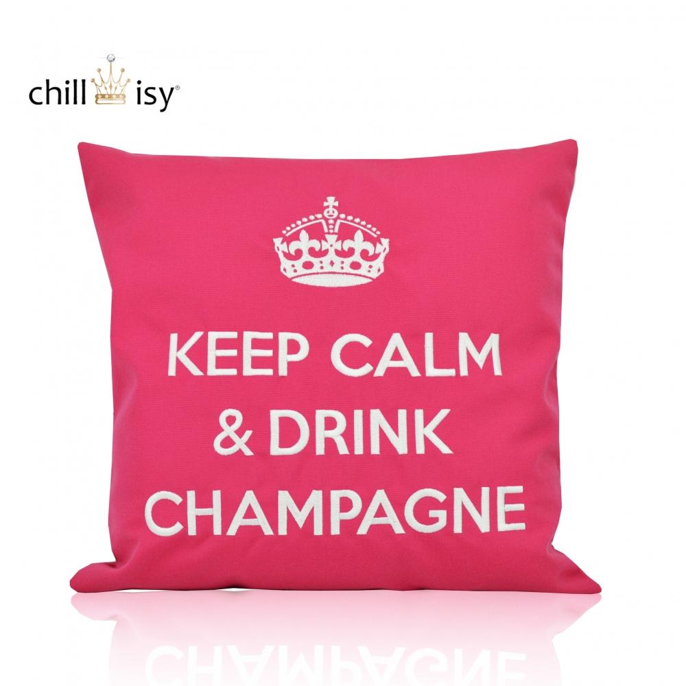 kissen keep calm drink champagne online kaufen. Black Bedroom Furniture Sets. Home Design Ideas