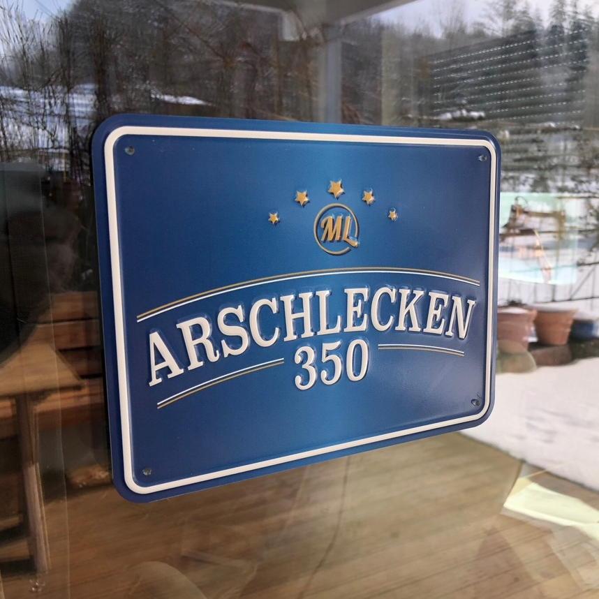 Blechschild Arschlecken 350