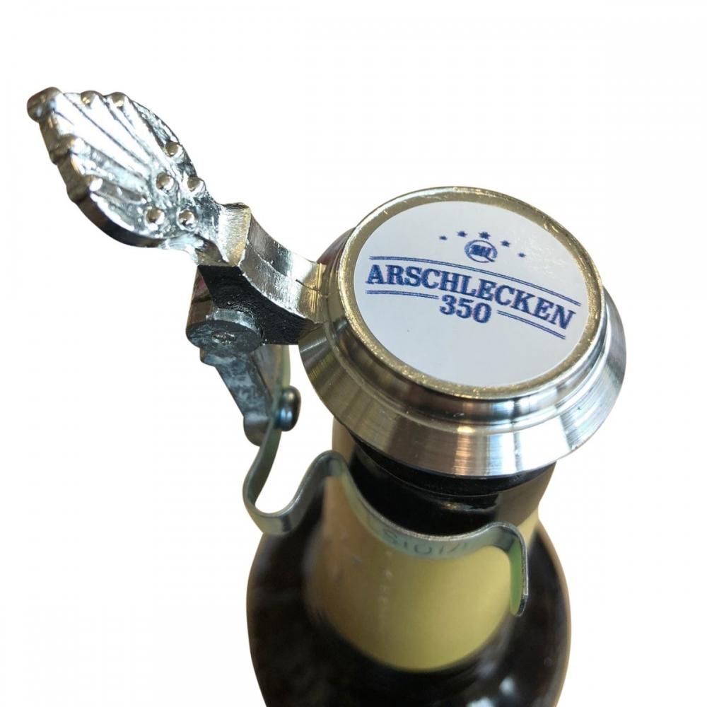 Zinndeckel Arschlecken350 für Bierflaschen