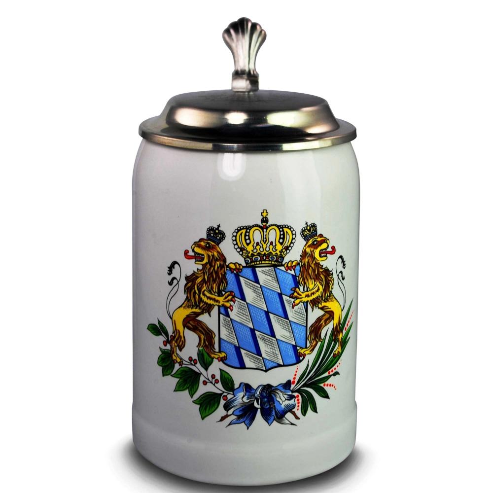 Bayrischer Bierkrug mit Zinndeckelgravur