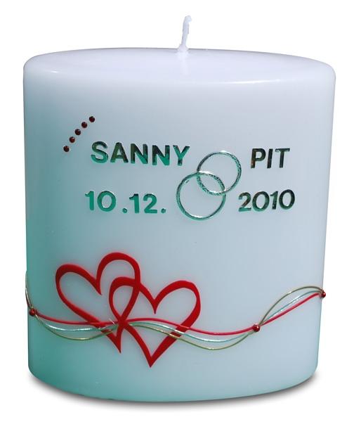 Die Kerze zur Hochzeit mit Wunschname & Datum