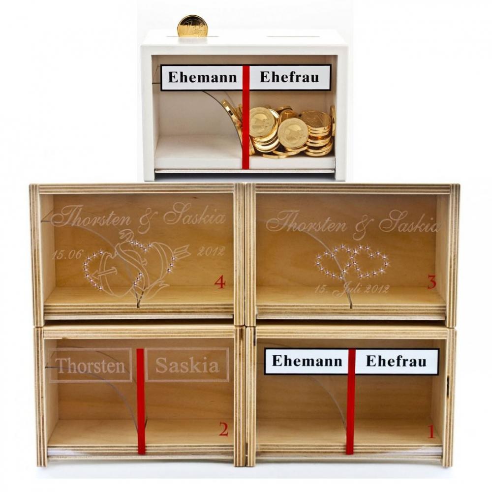 Die Spardose für Eheleute mit Gravur - verschiedene Versionen
