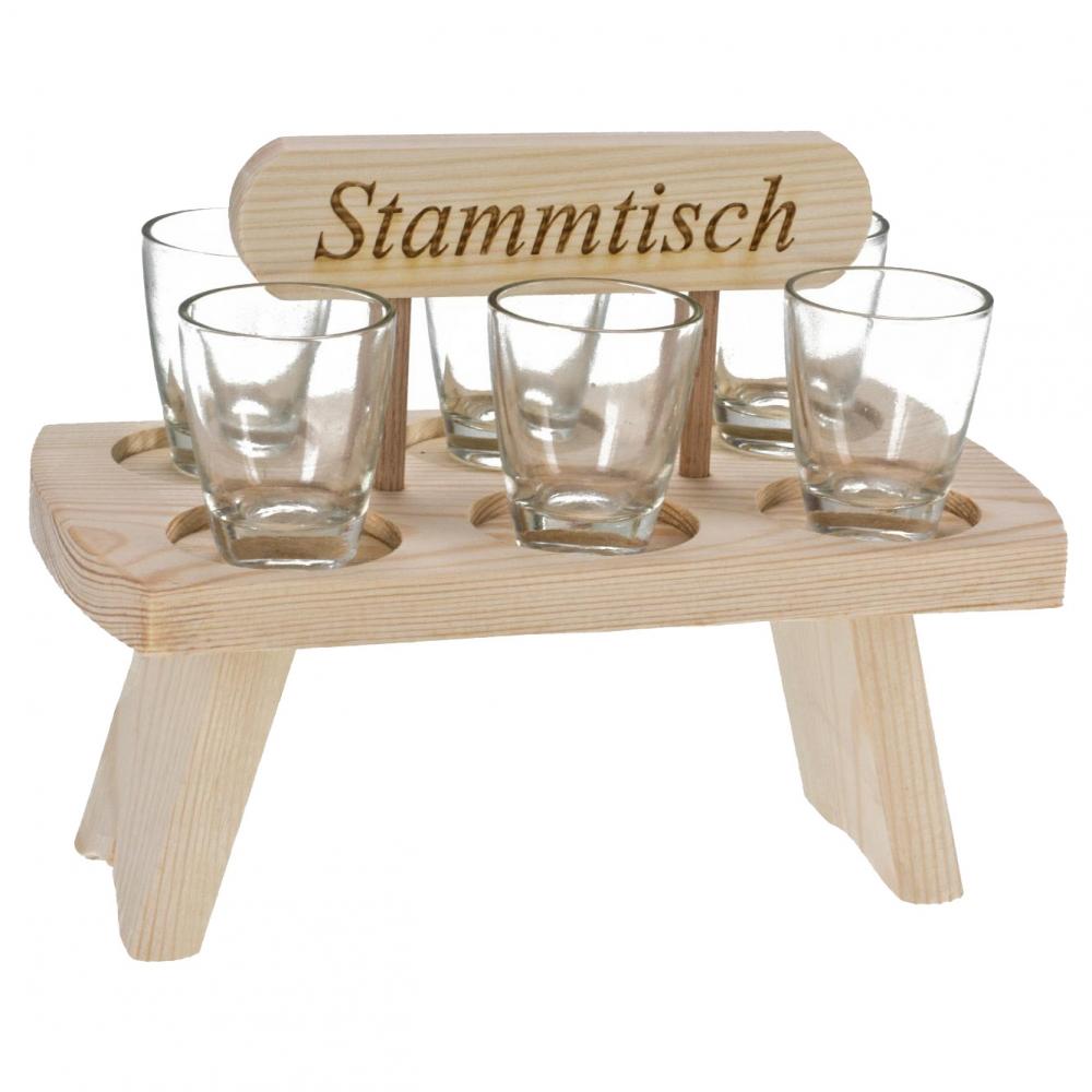 Stammtisch runde 6 schnapsgl ser auf mini stammtisch aus for Runde ausziehtische aus holz