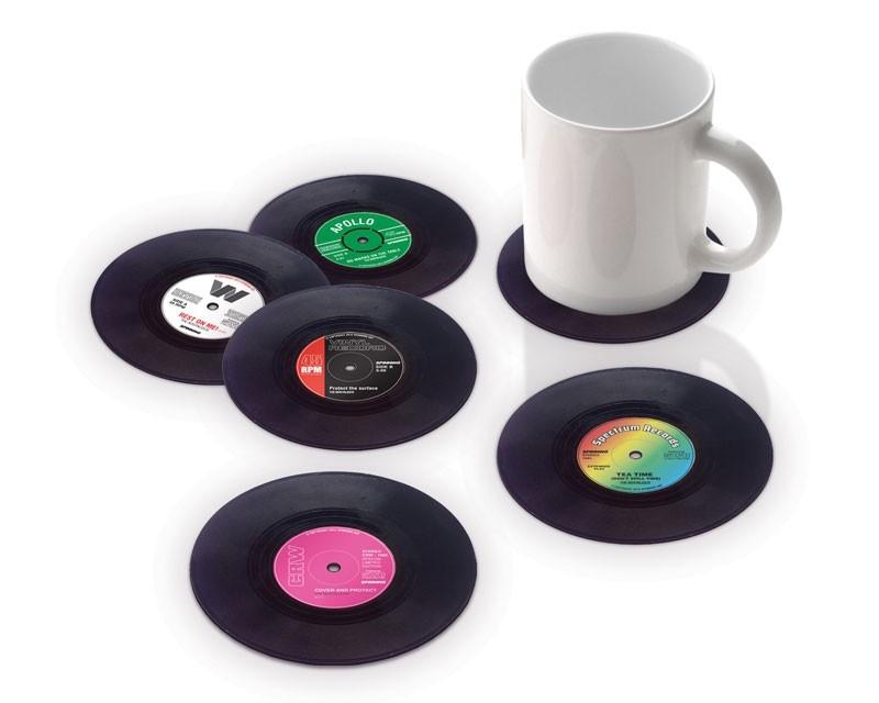 Untersetzer 6-er Set im Schallplatten-Design