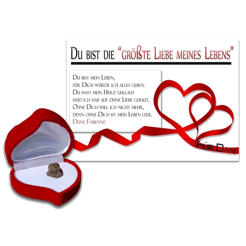 Urkunde mit echter sternschnuppe für die liebe des lebens