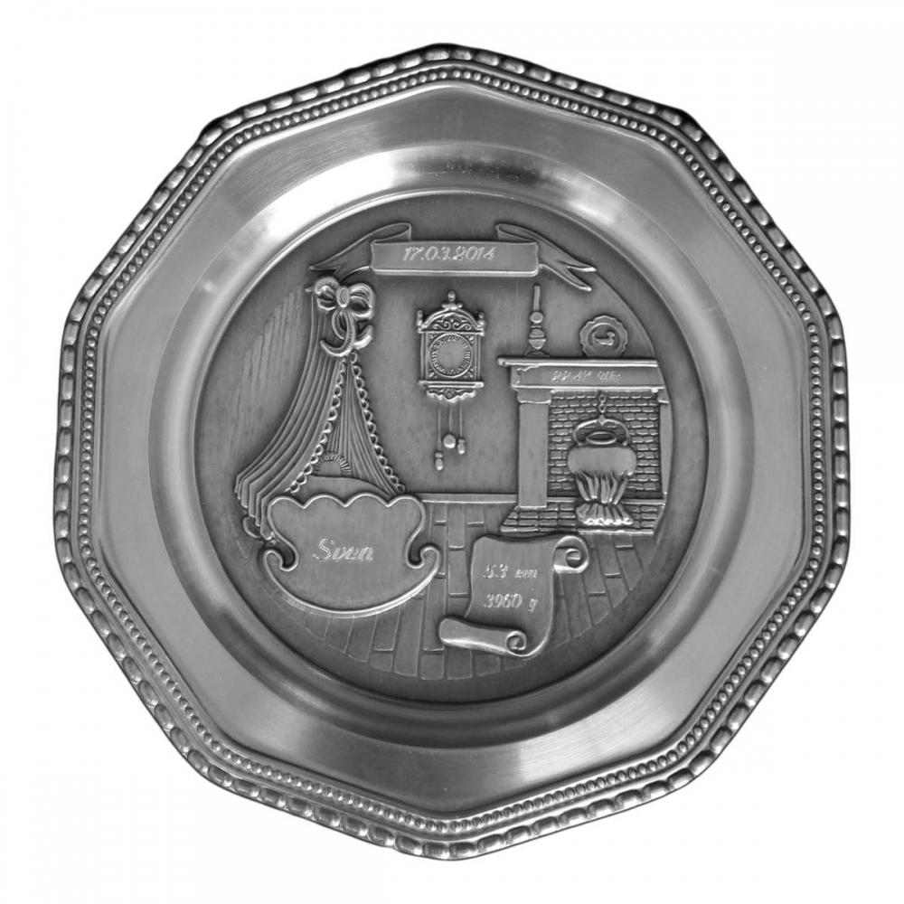 Zinnteller Chippendale mit Geburtsdatengravur